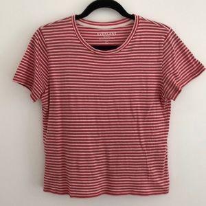 Everlane Raspberry Pink Stripe Crop Box T